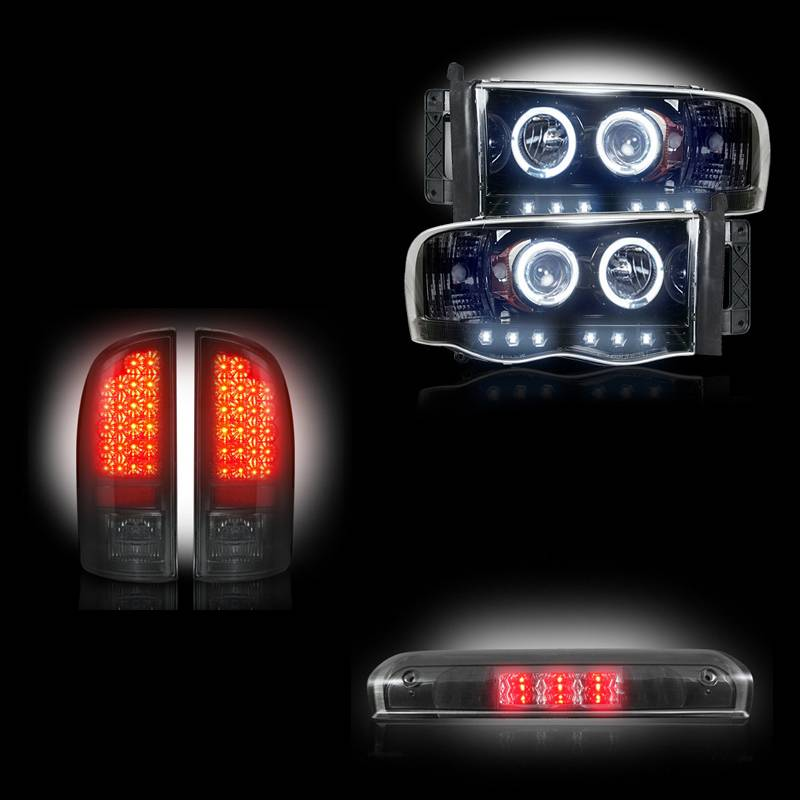 dodge ram 1500 2500 3500 2002 05 recon smoked headlights tail lights. Black Bedroom Furniture Sets. Home Design Ideas