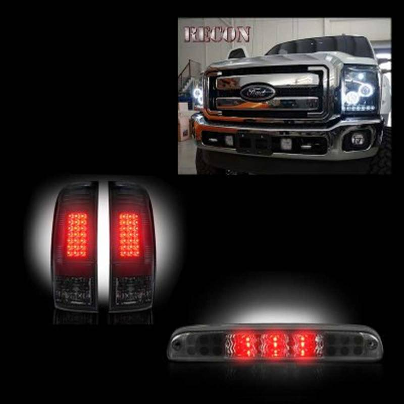 Recon Smoked Projector Headlights Led Tail Lights 3rd Brake Light 2017 2016 Ford Super Duty Dale S