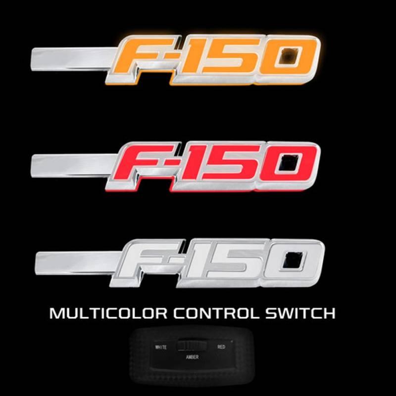 2014 F150 Leveling Kit >> RECON F-150 Illuminated Fender Emblems Red, White, & Amber w/Chrome Housing | 2009-2014 Ford ...