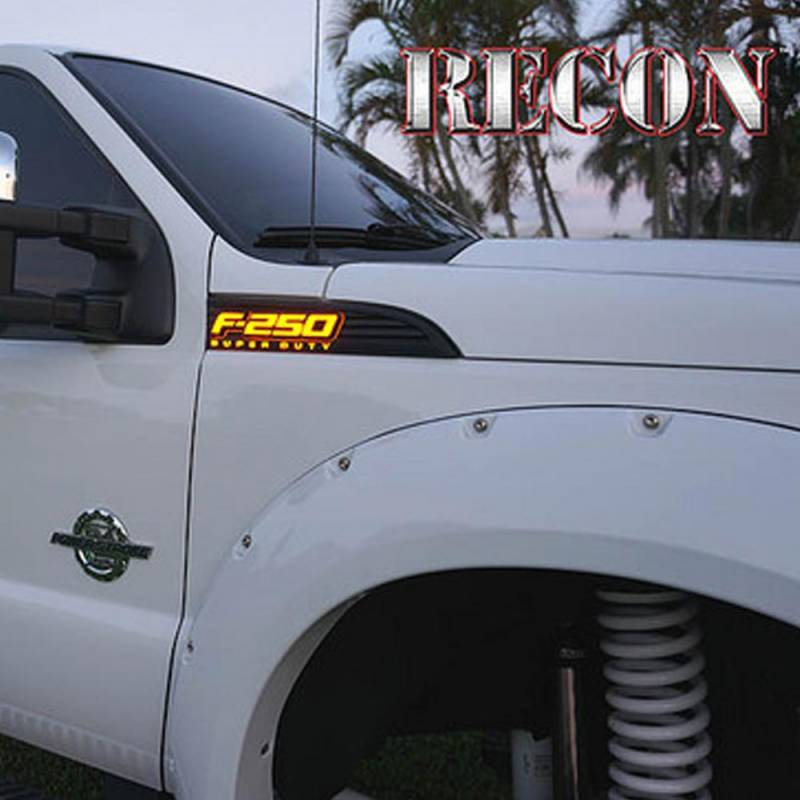 recon   illuminated fender emblems red white amber