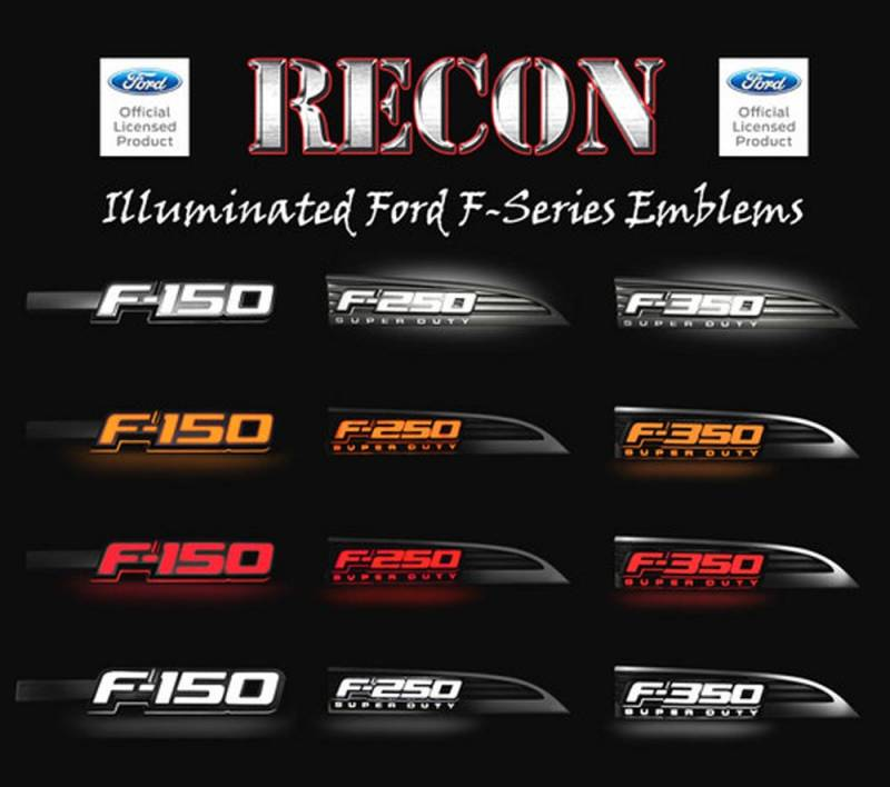 recon   illuminated fender emblems red white amber wchrome housing   ford