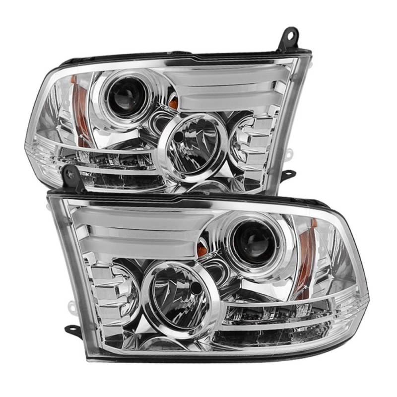 spyder chrome drl bar projector led headlights 2009 2016. Black Bedroom Furniture Sets. Home Design Ideas