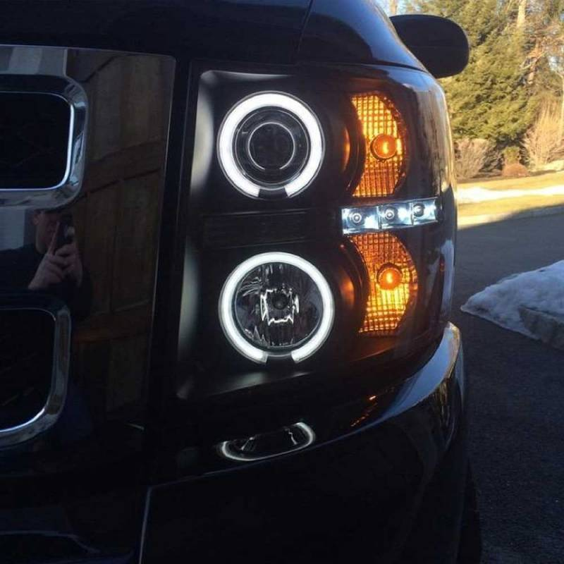 Spyder Black Ccfl Halo Projector Led Headlights 2007