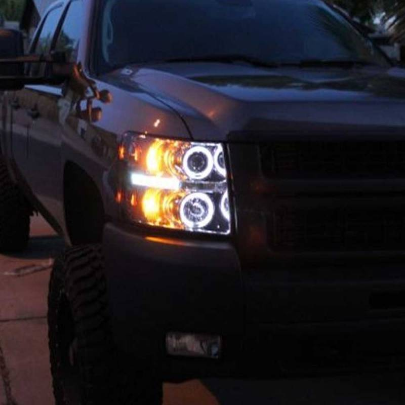 Spyder Chrome Ccfl Halo Projector Led Headlights 2007