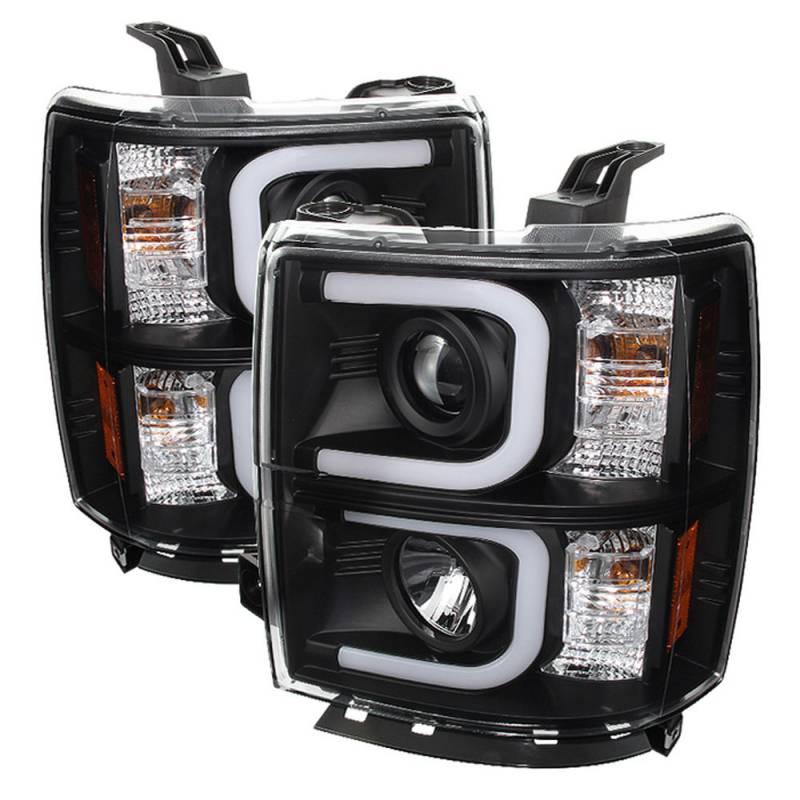 spyder black u bar projector led headlights 2014 2015 chevrolet silverado 1500 dale 39 s super. Black Bedroom Furniture Sets. Home Design Ideas