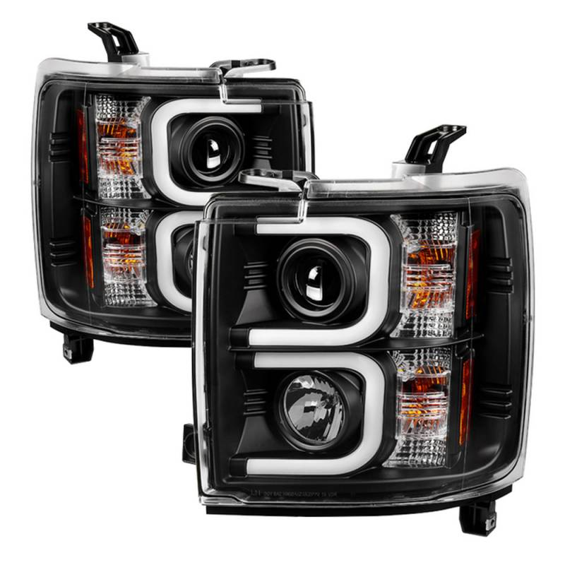 spyder black u bar projector led headlights 2015 2016. Black Bedroom Furniture Sets. Home Design Ideas