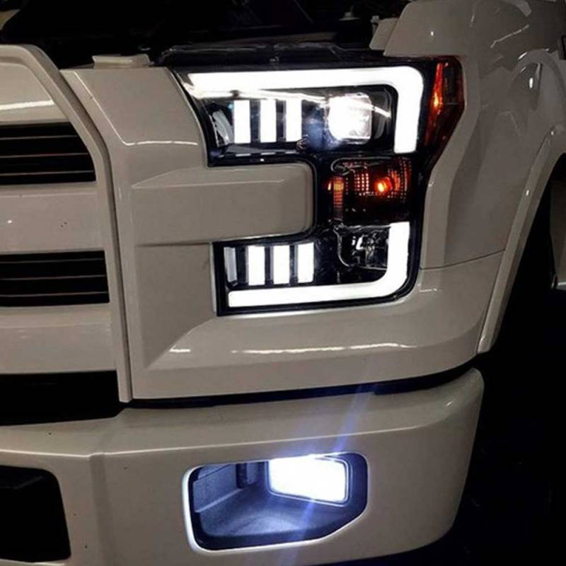 Recon Smoked Black Projector Led Headlights For 2015 2017