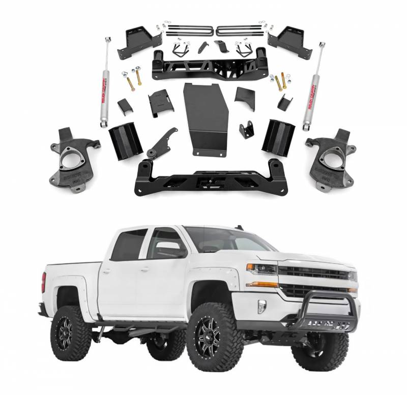 Rough Country 7 In Suspension Lift Kit & Knuckle Kit for