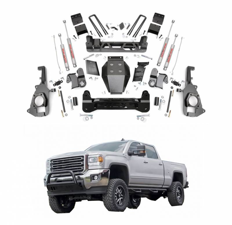 Rough Country 5 In Non Torsion Drop Suspension Lift Kit For 2016 2018 Sierra Silverado 2500hd 3500hd Dale S Super