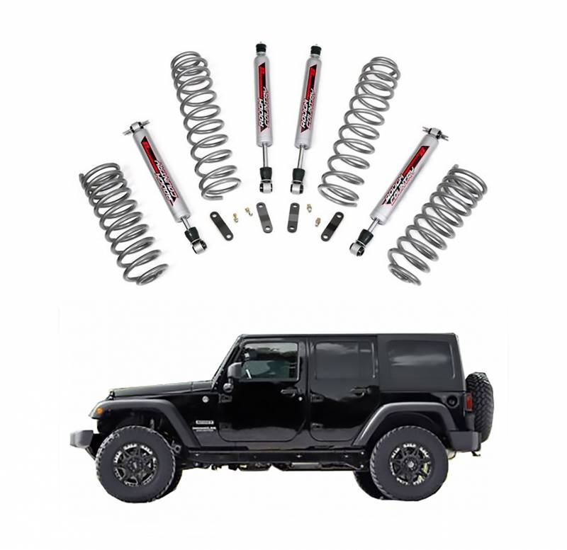 rough country 2 5 in suspension lift kit with performance shocks for 2007 2017 jeep wrangler jk. Black Bedroom Furniture Sets. Home Design Ideas