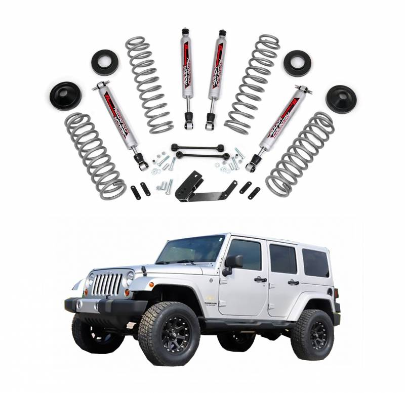rough country in suspension lift kit with performance shocks for 2007 2017 jeep wrangler jk. Black Bedroom Furniture Sets. Home Design Ideas