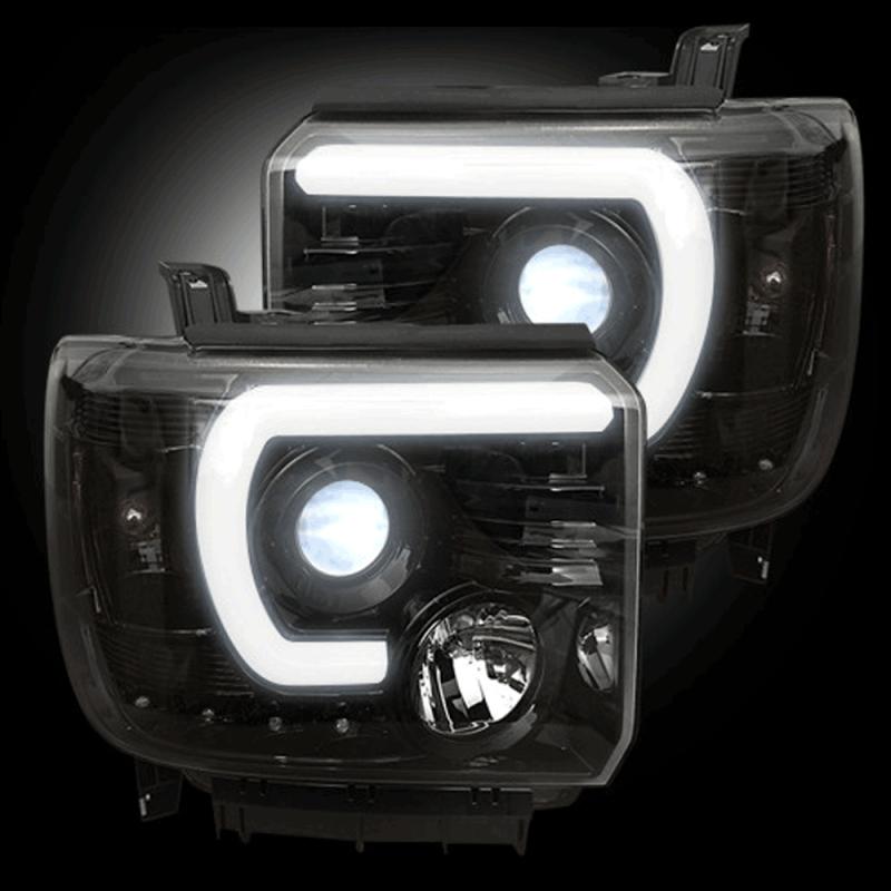 Jeep Halo Headlights >> RECON Smoked U-Bar Halo Projector Headlights | 2015-2017 GMC Sierra | Dale's Super Store