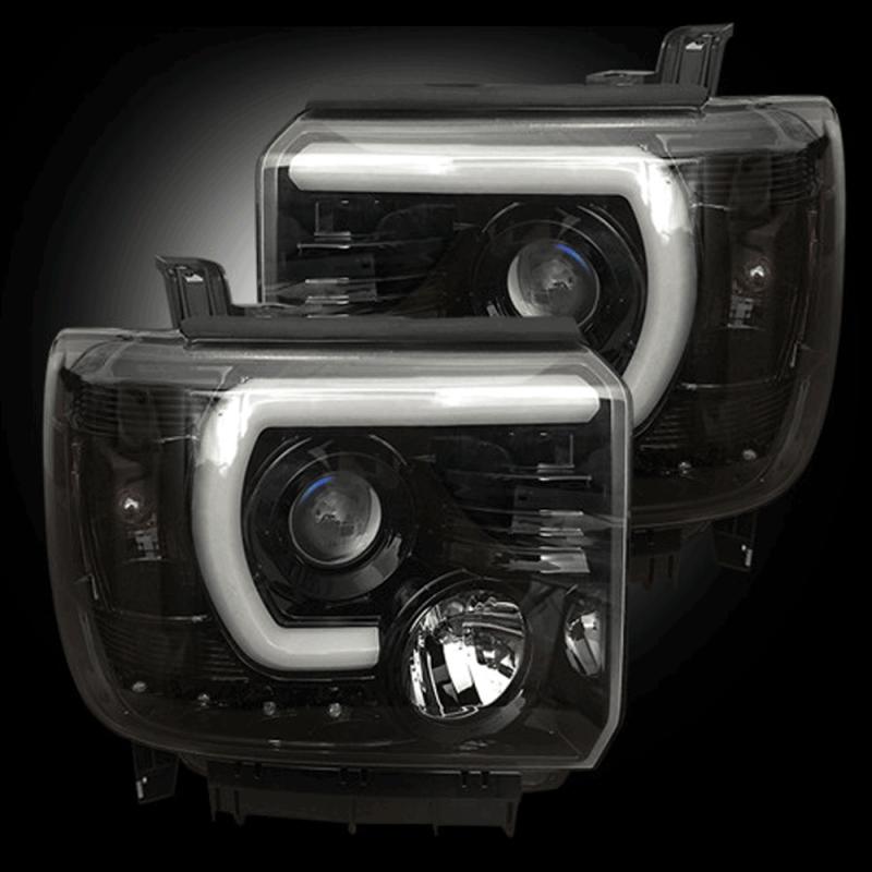 Jeep Halo Headlights >> RECON Smoked U-Bar Halo Projector Headlights | 2015-2017 ...