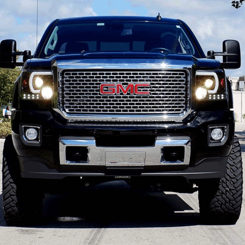 gmc sierra headlights recon halo smoked bar projector dalessuperstore