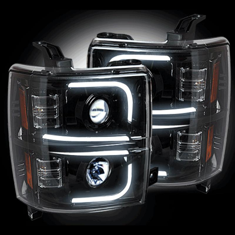 Recon Smoked U Bar Halo Projector Headlights 2017 Chevy Silverado 2500 3500 Dale S Super