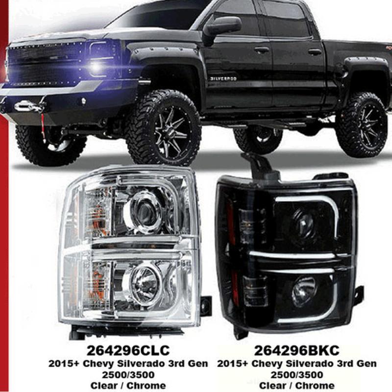 RECON Smoked U-Bar Halo Projector Headlights | 2015-2017 Chevy Silverado 2500/3500 | Dale's ...