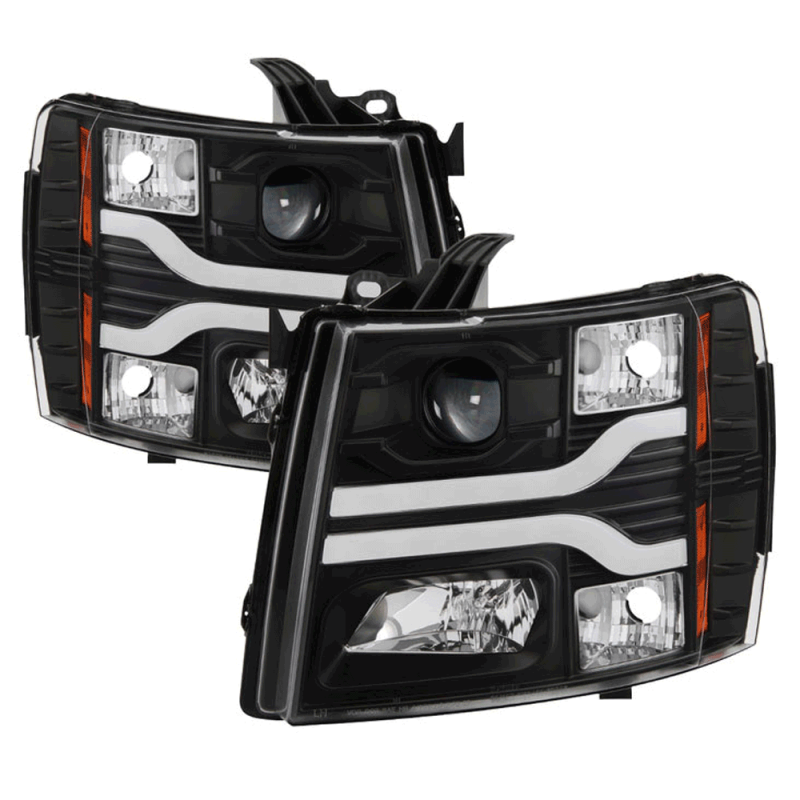 Spyder Black Drl Bar Projector Led Headlights 2007 2017 Chevy Silverado Dale S Super