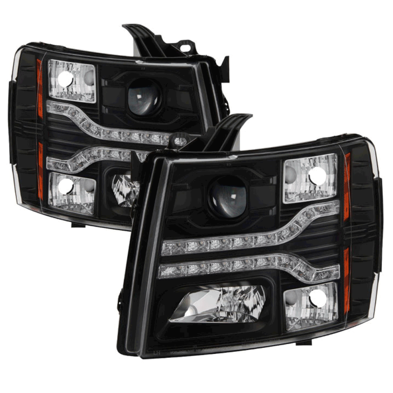 Spyder Black Projector Headlights With Led Drl 2007 2017 Chevy Silverado Dale S Super