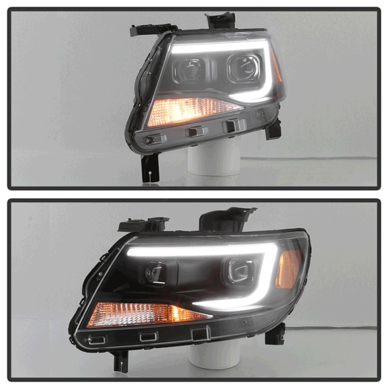 Spyder® Black U-Bar Projector Headlights w/LED Turn Signal ...