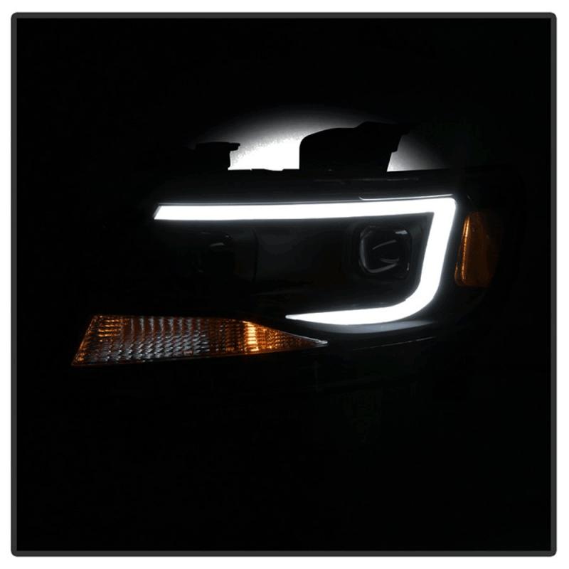 Spyder® Black Smoke U-Bar Projector Headlights w/LED Turn ...