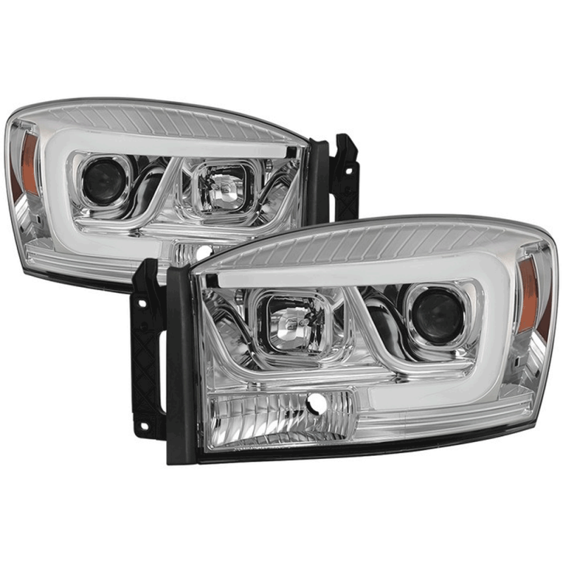 spyder chrome led drl bar projector headlights 06 08. Black Bedroom Furniture Sets. Home Design Ideas