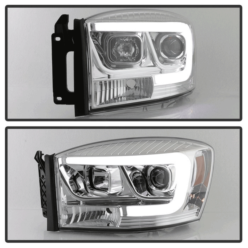 Spyder 174 Chrome Led Drl Bar Projector Headlights 06 08