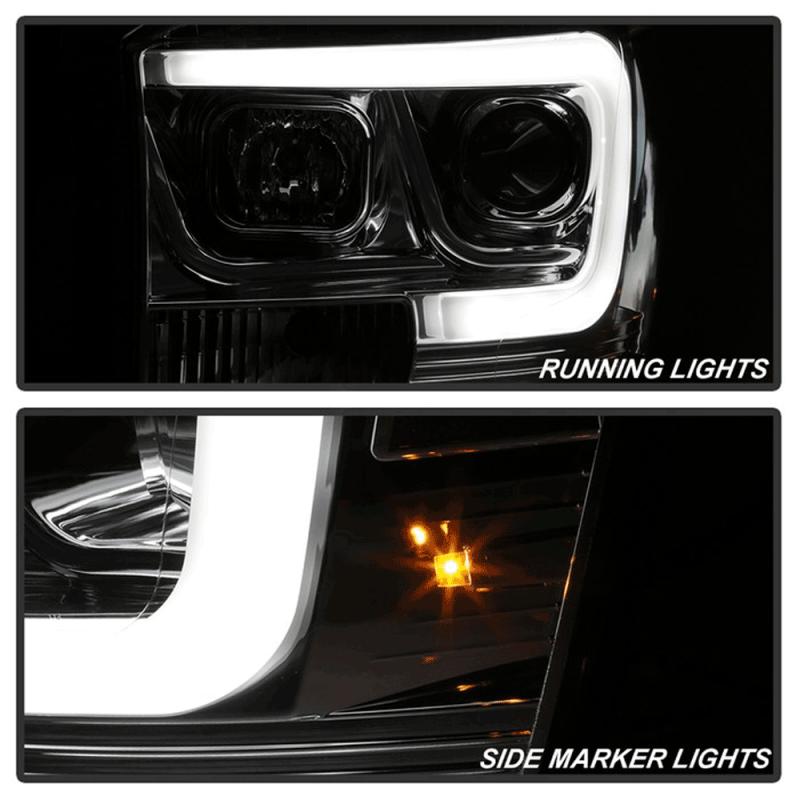 Spyder 174 Chrome Led Drl Bar Projector Headlights 06 08