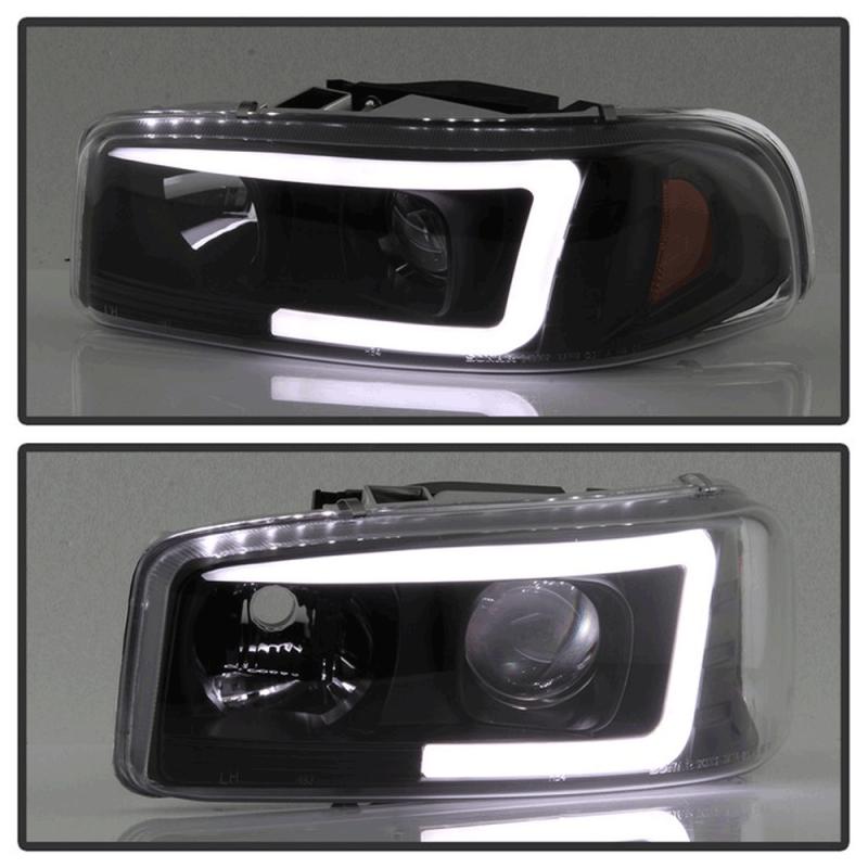 Spyder 174 Black Led Drl Bar Projector Headlights 1999 2006