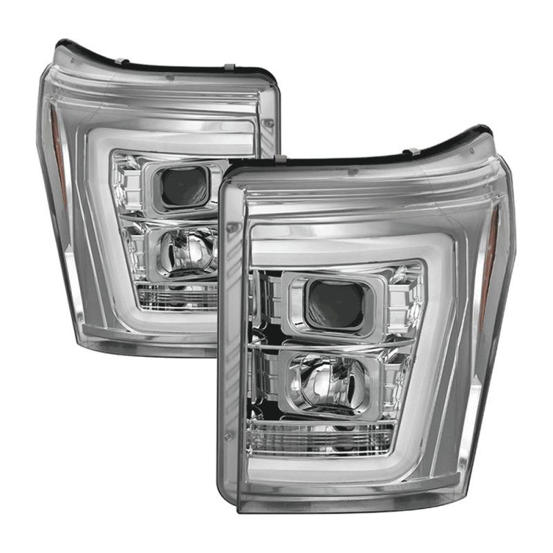 Spyder 174 Chrome Led Drl Bar Projector Headlights 2011