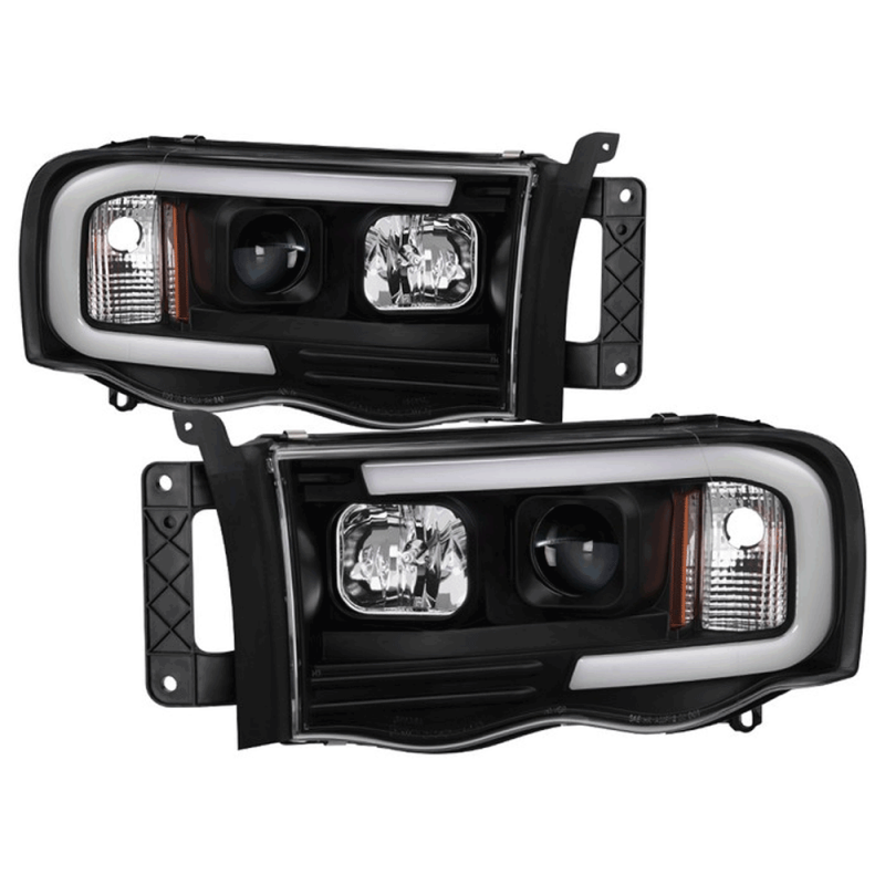 Spyder Black Led Drl Bar Projector Headlights 2002 2005 Dodge Ram Dale S Super