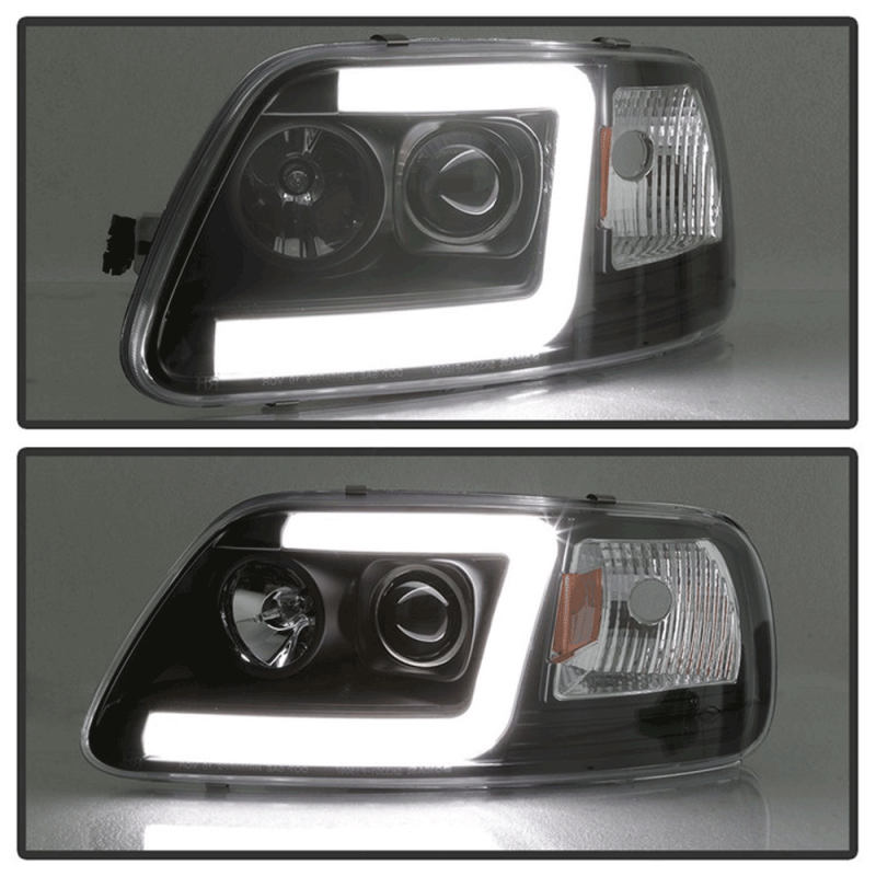 Spyder Black Led U Bar Projector Headlights 1997 2003 Ford F 150