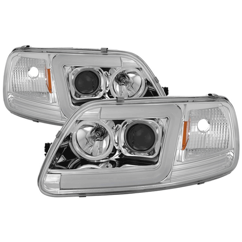 Spyder Chrome Led U Bar Projector Headlights 1997 2003 Ford F 150