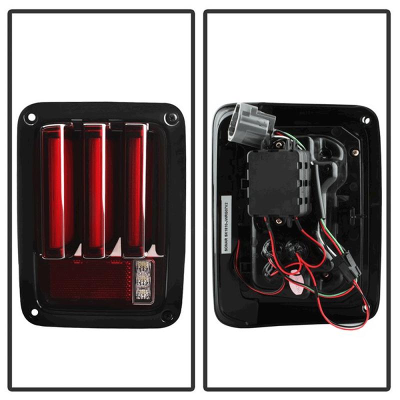 Spyder 174 Black Red Sequential Fiber Optic Led Tail Lights
