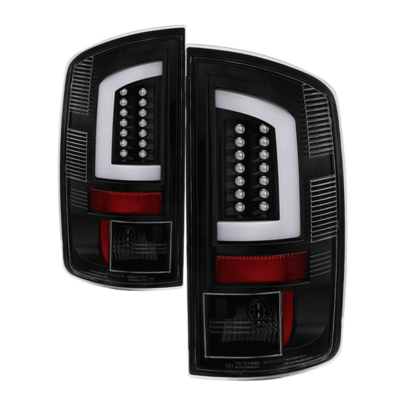 spyder black fiber optic led tail lights 2002 2006 dodge ram dale s super