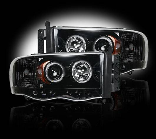 Recon Smoked Projector Headlights 2002 2005 Dodge Ram
