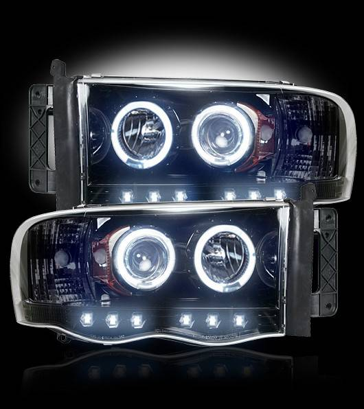 Recon 2002 2005 Ram 1500 03 05 Smoked Projector Headlights