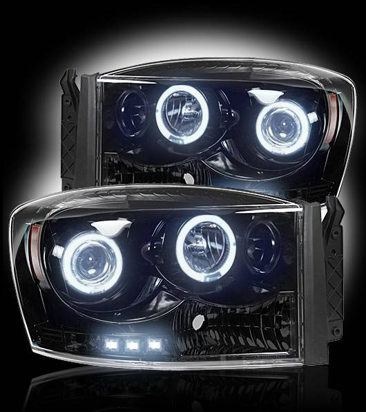 Dodge ram 06 08 1500 06 09 25003500 projector headlights smoked recon recon 264199bk smoked projector headlights w led halos for dodge ram publicscrutiny Images