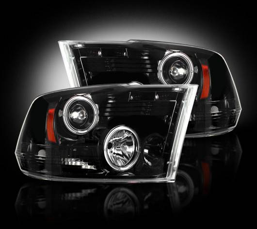 Hid Light Bulbs >> 2009-2013 Ram 1500 / 10-13 Ram 2500/3500 SMOKED Projector Headlights RECON Part # 264270BK