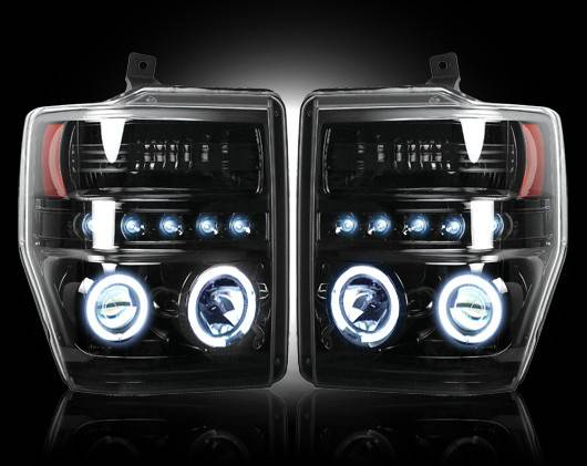 Recon 264196bk Smoked Projector Headlights Ford Superduty 08 10 W