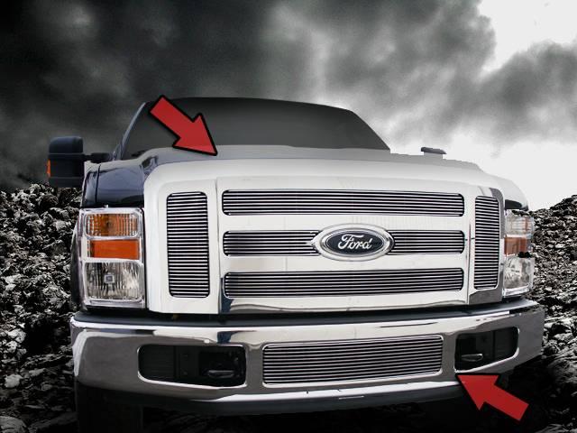 Dale's Polished Aluminum Billet Grille Combo 2008 - 2010 Ford F-250, F-350 (Complete Set)
