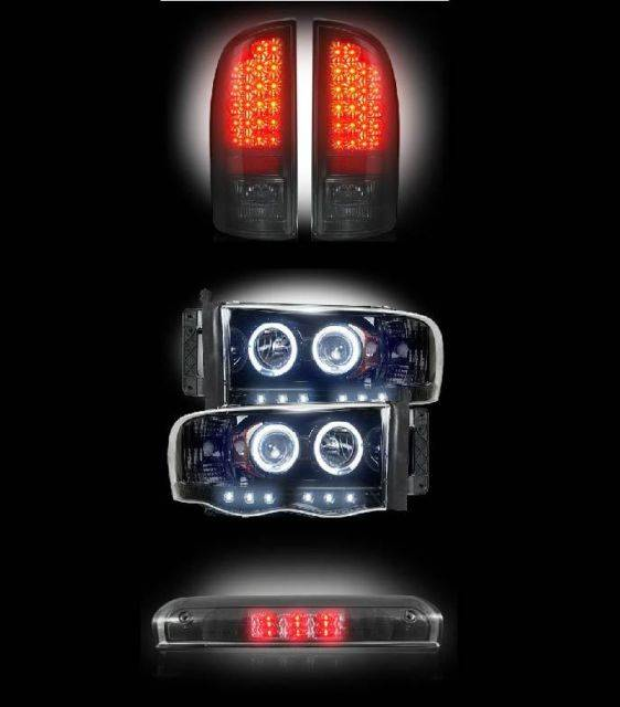Recon 2002 2005 Dodge Ram Combo Smoked Led Tail Lights Projector