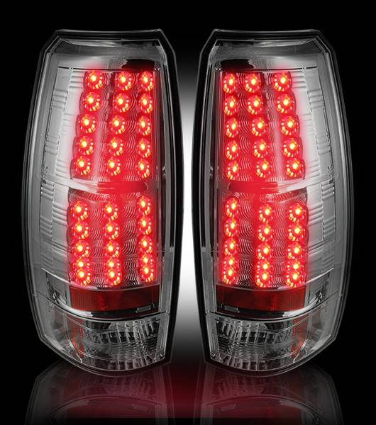 Recon 264235cl Clear Lens Led Tail Lights W Chrome Back