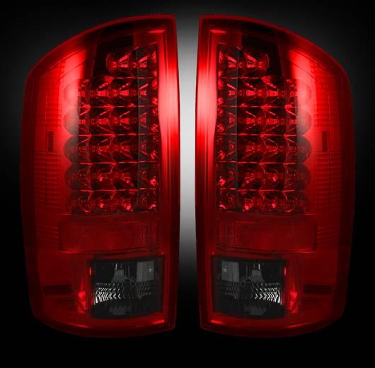 led tail lights red smoked 2002 2006 dodge ram 1500 2003 2006 ram. Black Bedroom Furniture Sets. Home Design Ideas