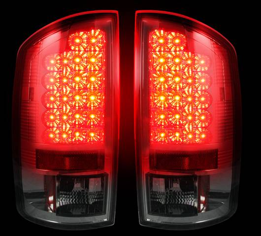 led tail lights smoked 2002 2006 dodge ram 1500 2003 2006 ram. Black Bedroom Furniture Sets. Home Design Ideas