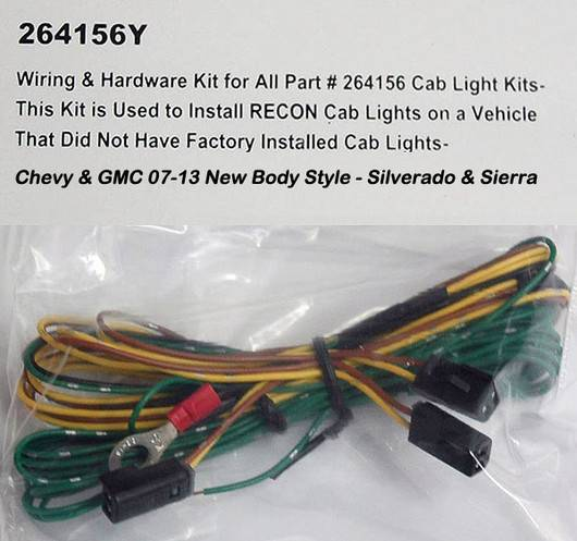Recon 264156y Cab Roof Lights Wiring Kit For Gm 07 13
