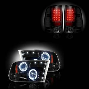 RECON - Dodge Ram 1500 2009-2012 + 2500/3500 2010-13 Recon Smoked Headlights & Tail Lights Lighting Package
