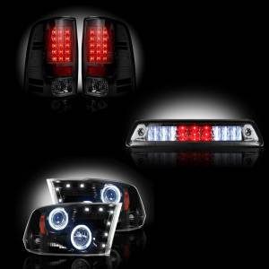 RECON - Dodge Ram 1500 2009-2013 + 2500/3500 2010-13 Recon Smoked Headlights & Tail Lights & Third Brake Light Lighting Package