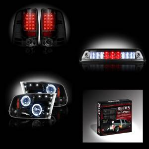 RECON - Dodge Ram 3500 Dually 2010-13 Recon Smoked Headlights & Tail Lights & Third Brake Light + Dually Fender Lights Lighting Package