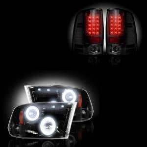 RECON - Dodge Ram 1500 2009-2013 + 2500/3500 2010-13 Recon Smoked Headlights w/ CCFL Halos & Tail Lights Lighting Package