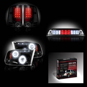 RECON - Dodge Ram 3500 Dually 2010-13 Recon Smoked Headlights w/ CCFL Halos & Tail Lights & Third Brake Light + Dually Fender Lights Lighting Package